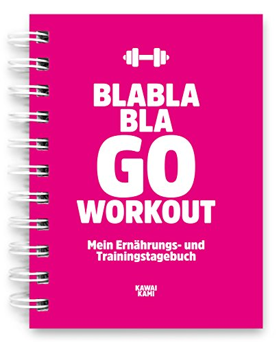 KAWAI-KAMI Trainings-Tagebuch & Ernährungstagebuch für Krafttraining, Fitness-Studio, Sport, Diät; mit Erfolgskontrolle; 200 Seiten DIN-A6; Pink