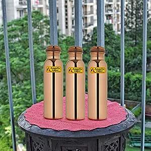 Angelic Copper Plain Bottle Set, 1 Litre, Set of 3, Brown