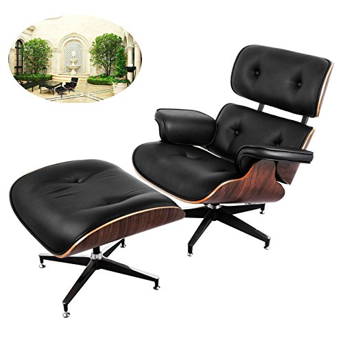 Ultraselect Mid Century Lounge Chair and Ottoman Set 7-ply Walnut Laminated Veneer Eames Style Lounge Chair Ottoman High-elastic Polyurethane Foam Cushions Office Lounge Chair with Cast Aluminum Base