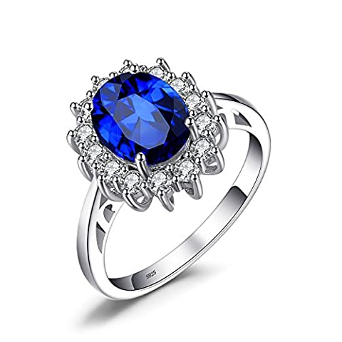 JewelryPalace Princess Diana William Kate Middleton's 2.7ct Created Blue Sapphire Engagement 925 Sterling Silver Ring Size O