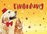 JuNa-Experten 12 Einladungskarten zum Kindergeburtstag für Mädchen Jungen Jungs Hund und Katze / Geburtstagseinladungen Einladungen Geburtstag Set