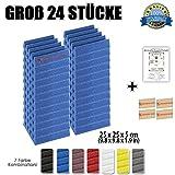Super Dash (24 Stück) von 25 X 25 X 5 cm Blau Keil Akustikschaumstoff Noppenschaumstoff Akustik Dämmmatte Schallisolierung Schaumstoff Polster Fliesen SD1134 (BLAU)