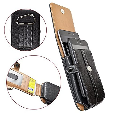 AXELENS COVER CASE VERTICAL HOLSTER POUCH FOR DOUBLE SMARTPHONE - Two Phones Case - BLACK LEATHERETTE - With Belt Loop, Carabiner and Magnetic Closure - UNIVERSAL - FAUX LEATHER - Card Compartment - For smartphones up to 4.7 inches - Phones up to 14 x 7 x 1,5