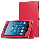 MoKo Hülle für All-New Amazon Fire HD 8 Tablet (7th & 8th Generation – 2017 & 2018 Modell) - Kunstleder Ständer Schutzhülle Smart Cover mit Stift-Schleife, Rot