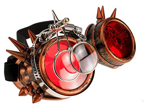 4sold Loupes Steampunk Antique Copper Cyber   Goggles Rave Goth Vintage Victorian Sonnenbrillen Inklusive GRATIS UV400 Sonnenbrille Objektiv und zusätzliche Aufkleber alle Bilder - Punk Star Kostüm