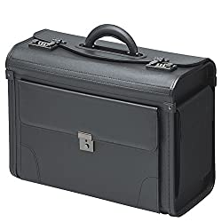 Pilot Case Suitcase Briefcase Black Synthetic leather with front pocket and side pockets Outdoor service case
