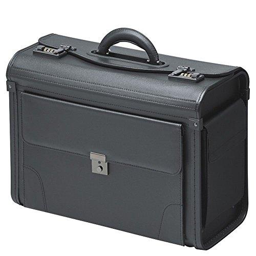 Pilotenkoffer Koffer Aktenkoffer Schwarz Kunstleder mit Vortasche und Seitentaschen Aussendienstkoffer