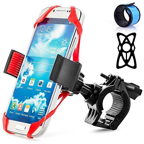 Senhai universale Bike staffa di montaggio per il GPS del telefono cellulare, con 2 elastici e 1 LED blu Snap Bracelet, della bicicletta del motociclo del manubrio del supporto del telefono Bike Rack per iPhone Samsung Xiaomi Blackberry HTC Nexus