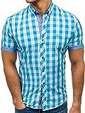 BOLF Hombre Camisa a Cuadros De Manga Corta Cuello Americano Camisa de Algodón Slim Fit 6522 Azul Turquesa M [2B2]