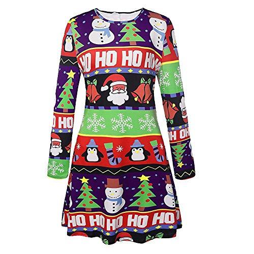 Katylen-girl cloth Frauen Weihnachten Kostüme Santa Print Langarm-Kleid, Blau, - Santa Girl Kostüm Weihnachten