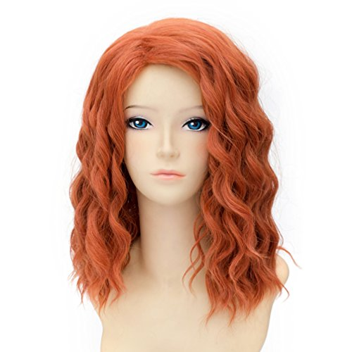 35cm Orange Medium Gewellt Damen Lolita Cosplay (Orange Halloween Perücke)