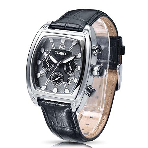 Time100 Orologio uomo pelle grande, quadrante Tonneau, cassa in acciaio INOX, water resistent#W70111G (Grigio)