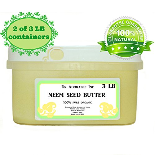 Neem Seed Butter Pure Organic Cold Pressed Unrefined Skin Recovery Relief Healing 6 lb