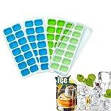 baifeng Ice Cube Tabletts 4Pack, einfaches ausfahren über Silikon und flexible 14-ice Tabletts mit schutzabweisend. Abnehmbarer Deckel, LFGB zertifiziert & BPA-frei, stapelbar robust und spülmaschinenfest