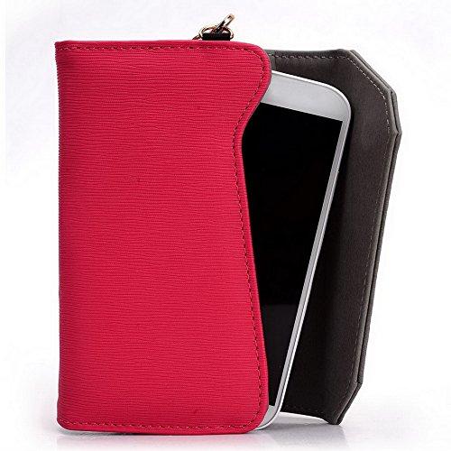 Kroo Lien série universel Portefeuille pour femme avec bracelet sac à bandoulière Compatible avec Motorola Moto G/Motorola Moto G (2ème génération) pour téléphone portable Black and Magenta Magenta and Grey