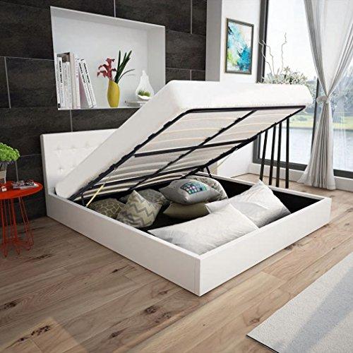 SHENGFENG Doppelbett Bett mit Bettkasten Polsterbett 140 x 200 cm Kunstlederbett Weiß