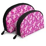 Nastri per il cancro al seno da donna, astuccio da viaggio per cosmetici per ragazze e articoli da toeletta portatile, 2 pezzi