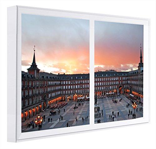 Ccretroiluminados plaza mayor madrid quadri finestra falsas, legno, multicolore, 80x 60x 6.5cm