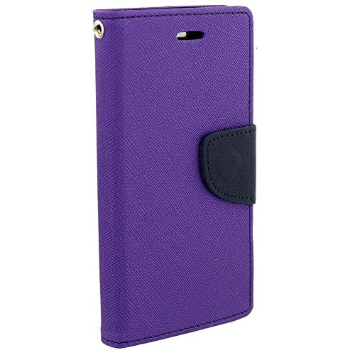 Avzax Diary Wallet Style Flip Cover Case With Magnetic Lock for Panasonic Eluga Icon 2 (Purple)