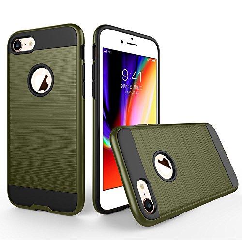 UKDANDANWEI Apple iPhone 7 Étui,Coque Back Cover Rigide Antichoc Renforcée Housse de Protection Étui à rabat Case pour Apple iPhone 7 - Noir Émeraude