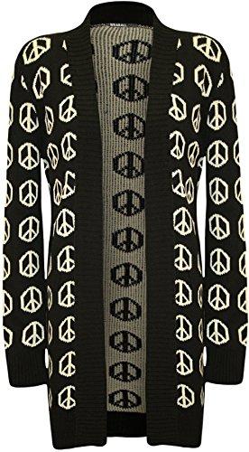 WearAll - Womens Peace Sign Pattern Langarm Öffnen Damen Strickjacke Top - Schwarz - ()