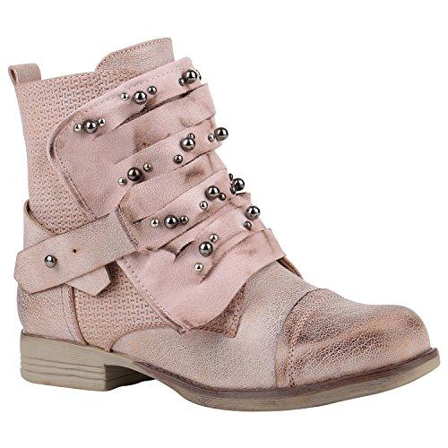 Stiefelparadies Warm Gefütterte Damen Schuhe Biker Boots Prints Stiefeletten Zipper 156850 Rosa Perlen 38 Flandell