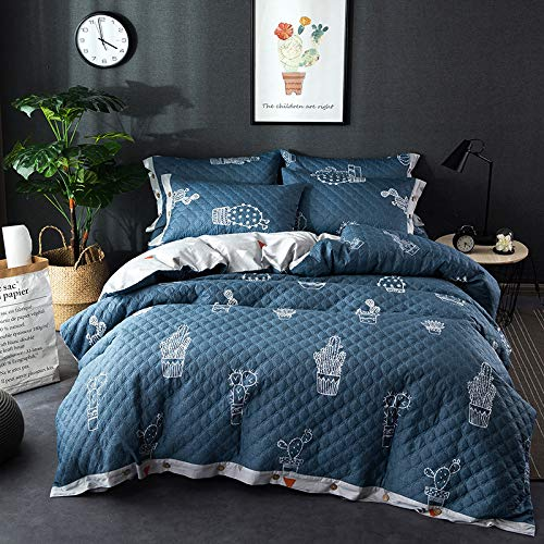 XMDNYE Reine Baumwollverdickung Vierteilige Baumwollsteppdecke Steppdecke Steppdecke Baumwollbett Bett Winter 4 Sätze, Fee Liebe Blume Blau, 1,5 M (5 Fuß) Bett - Fee-bett-satz