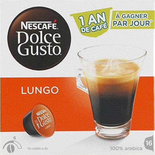 Dolce Gusto - Dosettes de café pur arabica, Caffé Lungo - Les 16 dosettes, 112g - Prix Unitaire - Livraison Gratuit Sous 3 Jours