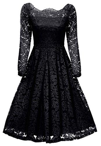Gigileer Eleganti Donna Vestito Abito in pizzo abito da sera Festa Off spalla manica lunga Nero