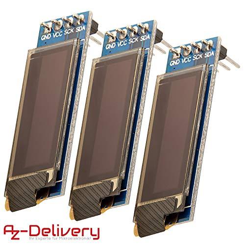 AZDelivery ⭐⭐⭐⭐⭐ 3 x 128 x 32 Pixel 0,91 Zoll OLED I2C Display für Arduino und Raspberry Pi mit gratis eBook!