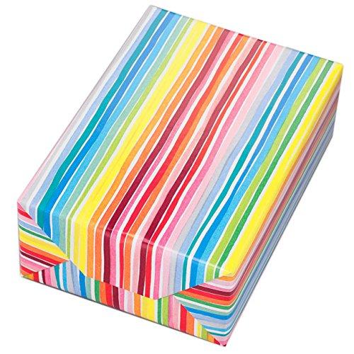 Geschenkpapier Rolle 50 cm x 50 m, Motiv Louisdor, bunte Streifen auf hochglänzendem Papier. Für Geburtstag, Sommer, Kinder.