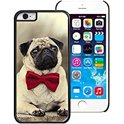 Funda diseño de perro carlino con pajarita para iPhone 6 (4.7) - PC/Negro, compatible con Apple iPhone 6