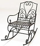 Schaukelstuhl Eisen Stuhl Herz-motiv dunkel-braun Vintage Look Relaxstuhl Metallstuhl Gartenmöbel Garten