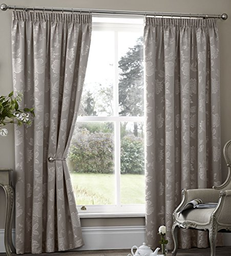 alamo-floral-lined-curtains-66-x-72-taupe-natural-grey-jaquard-flowers-leaves-pair-of-ready-made-pen