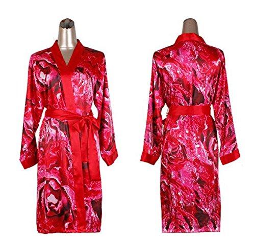 LJ&L La signora Estate traspirante casuale in due pezzi accappatoio fresco e confortevole camicia da notte e vestaglia,red,L Red