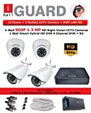 iBall CCTV 960P 1.3 MP HD 4 CCTV Cameras With 4 Channel HD DVR - Kit Includes ( 2 Dome + 2 Bullet + HD DVR + CCTV SMPS + 8 BNC + 4 DC Connectors + 45 Meter Cable )