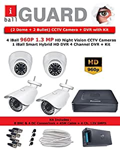 iBall 1.3MP HD CCTV Camera Kit with 4 Channel HD DVR