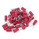 Sourcingmap® Connecteur de Fil de 40 Pièces Rouge sertir électriques isolés Fourche bornes 4-6mm 2