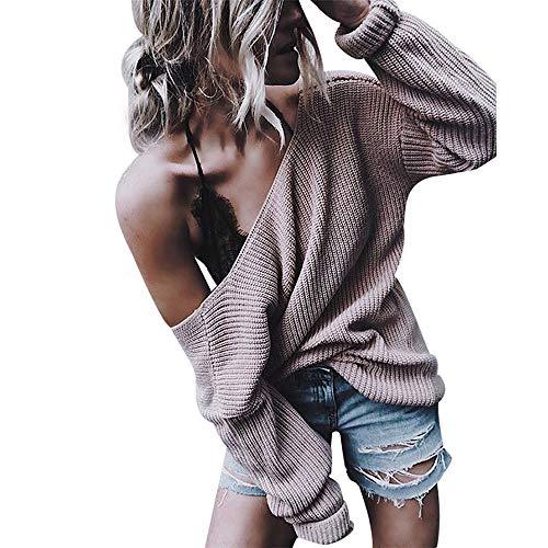 (iHENGH Vorweihnachtliche Karnevalsaktion Damen Herbst Winter Bequem Lässig Mode Frauen tiefem V Ausschnitt lose beiläufige Feste Farbe gestrickter Pullover und Strickjacke)