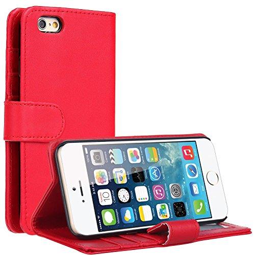 EnGive Étui en imitation cuir à rabat pour Samsung Galaxy S5, Cuir synthétique, bleu, iPhone 6S Rouge
