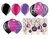 Feste Feiern Geburtstagsdeko Zum 40. Geburtstag | 21 Teile All-In-One Set Luftballons Deckenhänger Swirl Pink Schwarz Violett Party Deko Happy Birthday