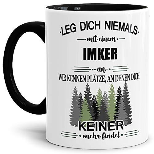 Tassendruck Berufe-Tasse Leg Dich Niemals mit Einem Imker an - Geschenk-Idee/Büro/Job/Arbeit/Witzig/Lustig/Innen & Henkel Schwarz