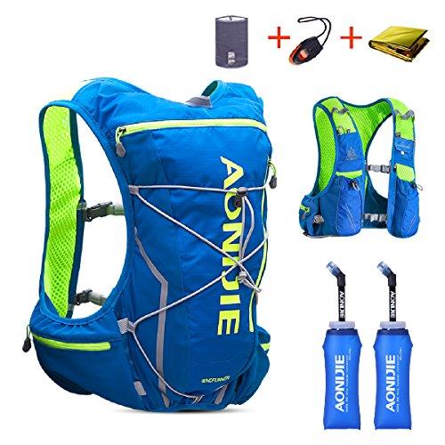 TRIWONDER Trinkrucksack Rucksack 10L Deluxe Laufrennen Trinkweste Outdoor Mochilas für Marathon Laufen Radfahren Wandern (Blau & Grün - mit 2 weichen Wasserflaschen (350ml), L-XL)