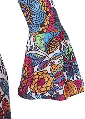 SMITHROAD Damen Minikleid mit Blumen Muster Tunika 3/4 Arm mit Stretch Bunt Orange Gelb Gr.34-44 Orange