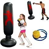 Sacco da Boxe Gonfiabile 160cm, Sacco da Boxe da Terra per Adulti Bambini, Punching Bag Autoportante per Casa con base…