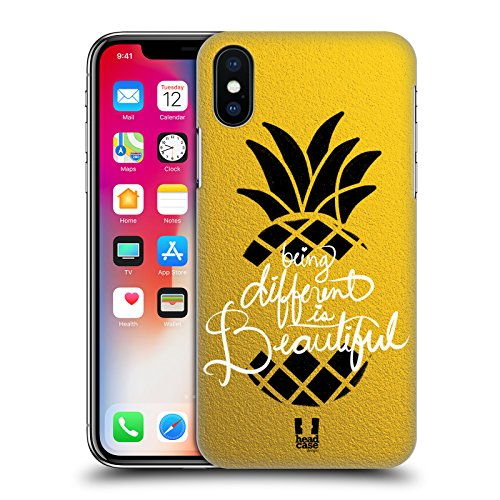 Head Case Designs Pera Frutta Alla Moda Cover Retro Rigida per Apple iPhone X Ananas