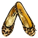 Ballerinas Mombasa Ponyfell im Leo-Look Animal-Print - klassische Ballerina Schuhe mit schwarzer Schleife