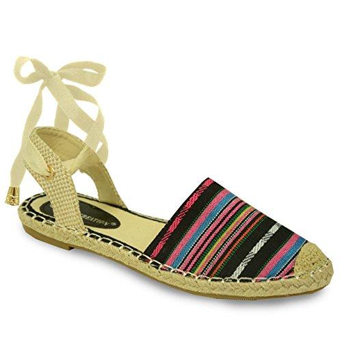 Cucu Fashion - Strap alla caviglia donna Nero (Black Canvas Striped)