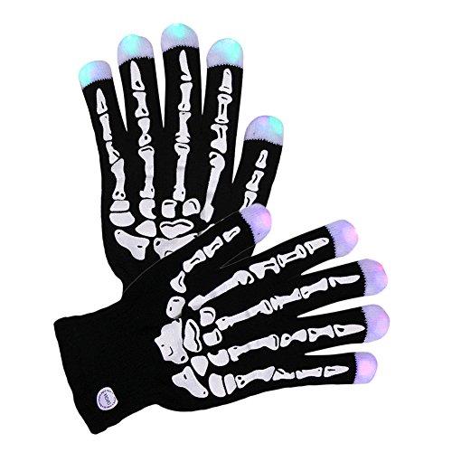 CHIC-CHIC gants lumineux lampes LED 7 modes d'éclairage doigt gant de toilette noir Skull Ghost Squelette Halloween Déguisement Cosplay Cotume Vimpire Démon Outdoor Moto Biker (23cm, Noir)