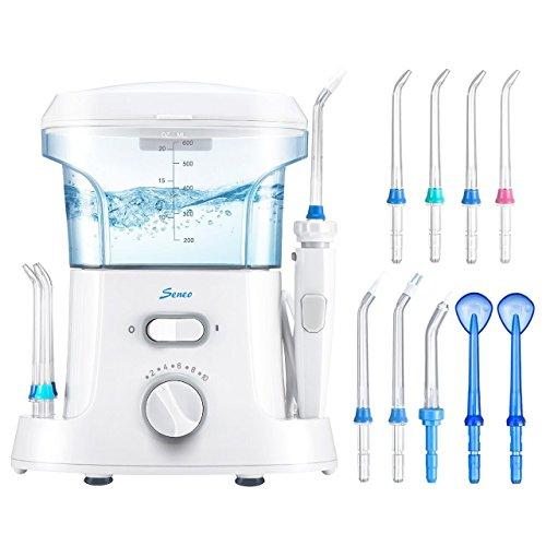 Seneo Munddusche Wasser Flosser Oral Wasserreiniger Wasserdicht Zahnpflege WaterJet Elektrische Munddusche mit 9 Düsen 10 stufenlose Wasserdruck, 30-125psi einstellbar